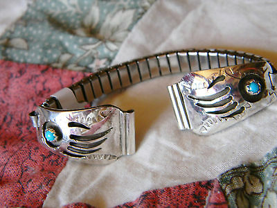 Spectacular sterling silver Navajo ladies bear paw watch band 2 blue turquoise