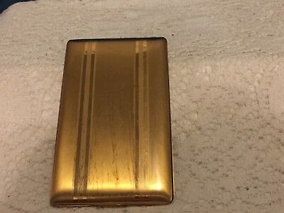 Vintage Elgin America Gold Striped Brushed Engine Turned Cigarette Case Holder
