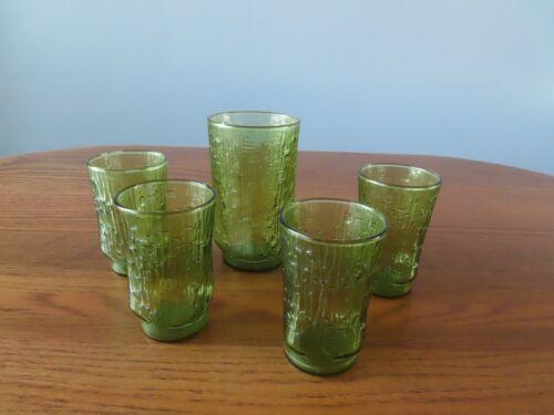 5 Vintage GLASSES Anchor Hocking Avocado Green