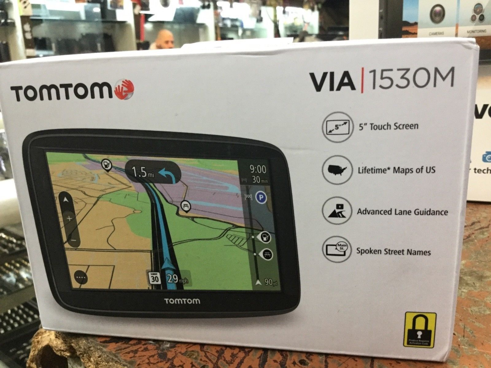"TomTom VIA 1530M 5"" GPS  4AA53 in Box Black color AS IS! activation locked"