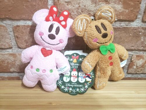 TOKYO Disney GingerBread Mickey Minnie Christmas Plush Pin 2011 NEW With tag