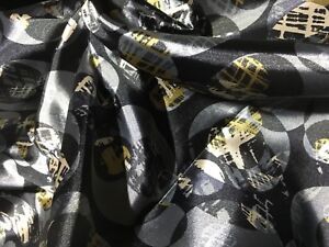 95% Polyester 5% Lycra - Patterned Silky Satin Dress Fabric