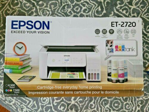 Brand New WHITE Epson ECOTANK ET-2720 Wireless All-In-One Color Printer BNIB
