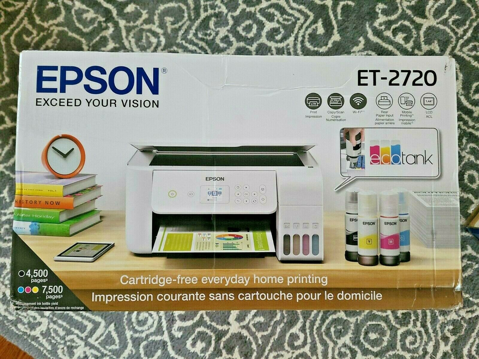 Brand New WHITE Epson ECOTANK ET-2720 WiFi All-In-One Color