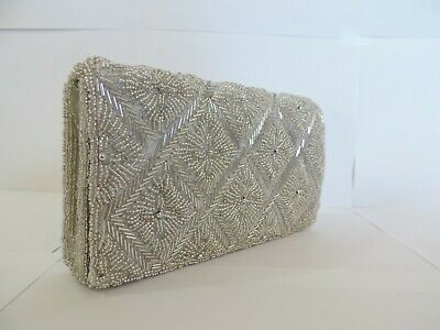 - Beaded Evening Bag Clutch Purse Party Wedding Prom Silver Gold Brown Blue Women