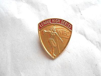 Vintage WIBC Womens Bowling Congress League High Series Bowler Award Pin Pinback