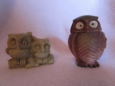 Pair of Vintage OWLS Rock Parent/Child Abstract Perched & Brown Clay Big Eyes
