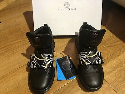 Young Versace Single Strap High Top Trainers  Black/Gold Size 35/2.5 UK Genuine