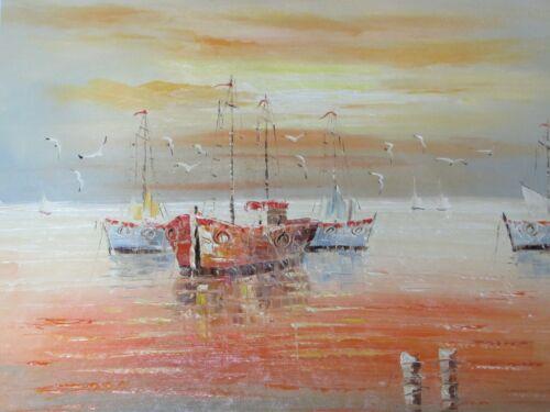 boat+boats+ships+large+oil+painting+sea+ocean+fishing+sailing+sun+set+nautical