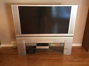"""50"""" hitachi color tv with stand and vcr"""