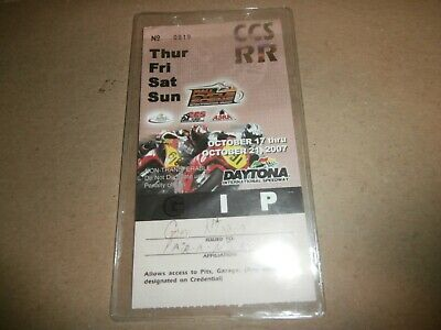 Vintage 2007 Gary Nixon Daytona Motorcycle Race Garage Pit Pass - Signed