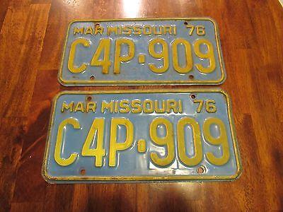 Mar 1976 Missouri License Plates, C4P-909