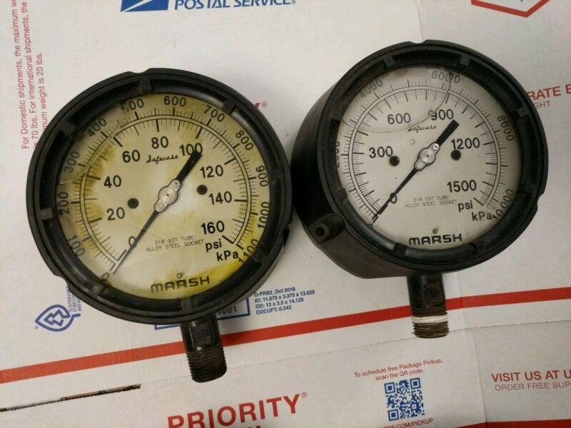 """(2) MARSH INSTRUMENT Safecase Large 5"""" gauge 0-1500 psi pressure liquid filled"""