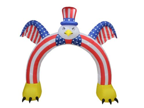 9 Foot Tall Patriotic Inflatable Bald Eagle Hat American Flag Archway Decoration