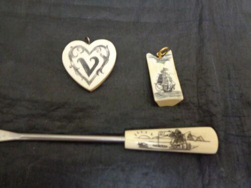 Scrimshawed Pendants & Fork/Pick Lot of 3