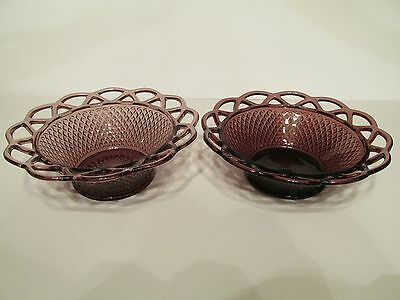 Lovely Pair Vintage Purple Amethyst Glass Open Crochet Edge Diamond Point Bowls