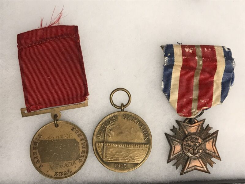 WW1 WW2 Navy Good Conduct And 1915 Haitian Campain Medal Name Engraved Number