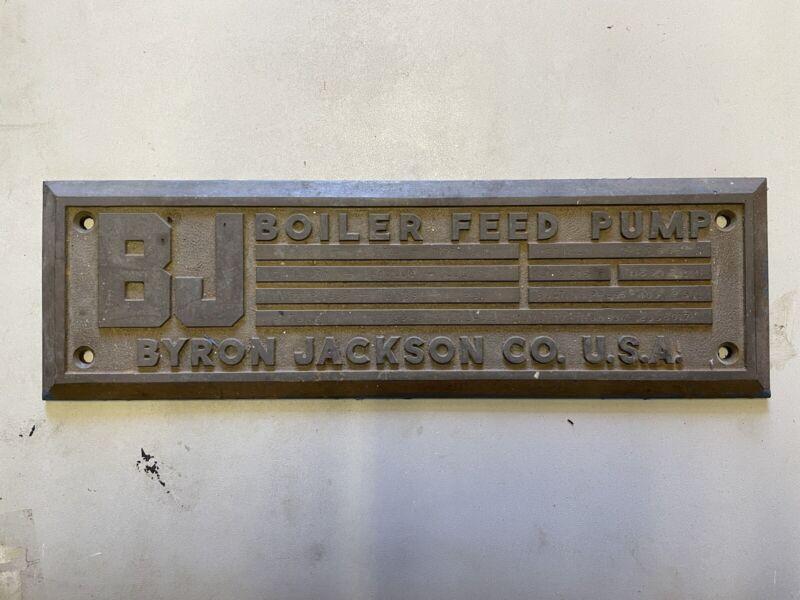 "Antique Beautiful Byron Jackson Co. Boiler Feed Pump BRASS Plaque 16.25"" x 5"""