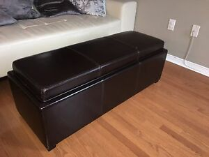 Genuine Leather Storage Ottoman/coffee table - Mint Condition