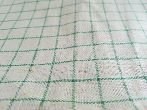 Vintage Antique French LINEN GREEN Plaid Kitchen Toweling Fabric  ~16 x 108 3yds