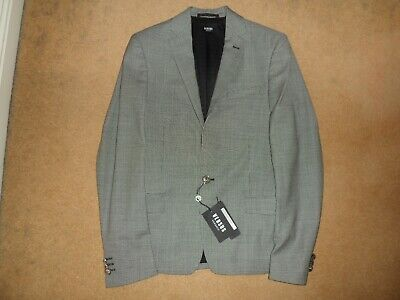 NEW VERSUS VERSACE MICRO CHECK SINGLE BUTTON 100% WOOL JACKET BLAZER UK 34 IT 44