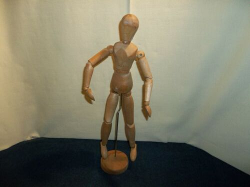 Vintage Wooden Articulated Artist Model Jointed Figure Human Form w/ Stand 16""