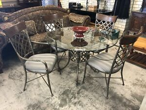 Glass Top 5 Piece Wrought Iron Dining Suite Wangara Wanneroo Area Preview