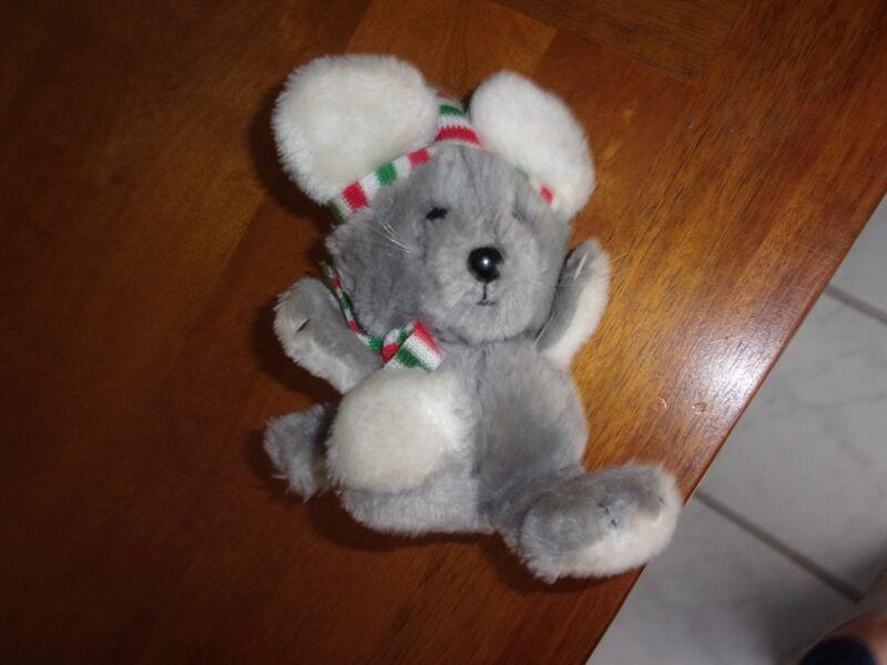 Vintage 1982 Dakin Christmas Mouse Stuffed Animal Gray Red Green