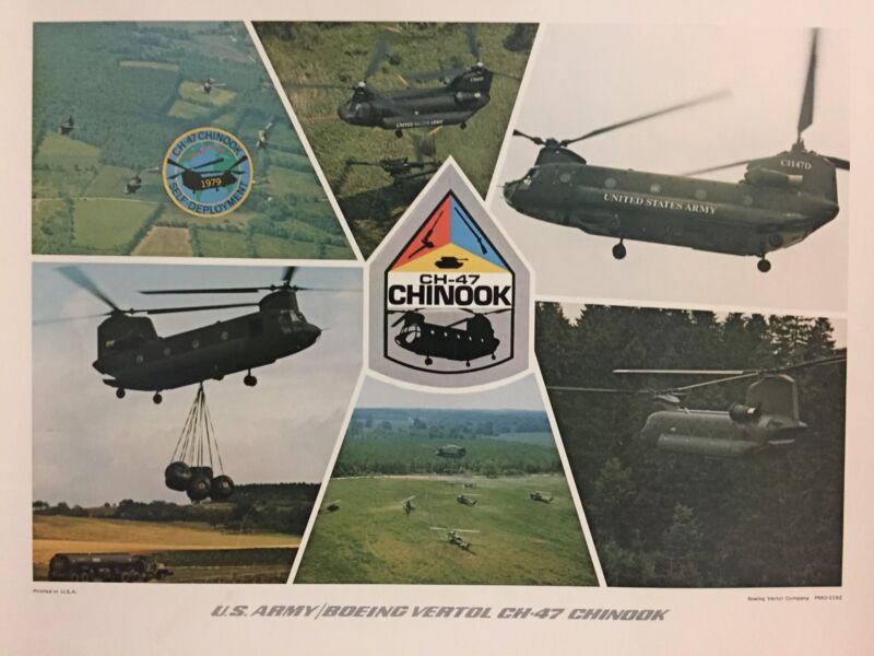VTG US Army Boeing Vertol CH-47 Chinook Military Helicopter Poster Print 14X18