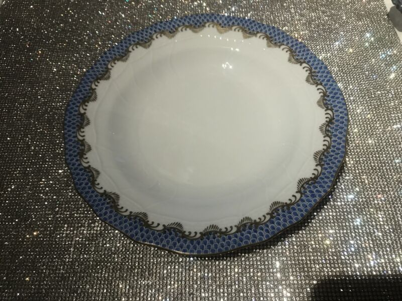 Herend Fish Scale Rim Soup Plate, Blue