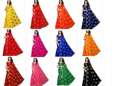 - Chiffon Saree Bandhani Printed Women Wear Blouse Indian Designer Sari Ethnic