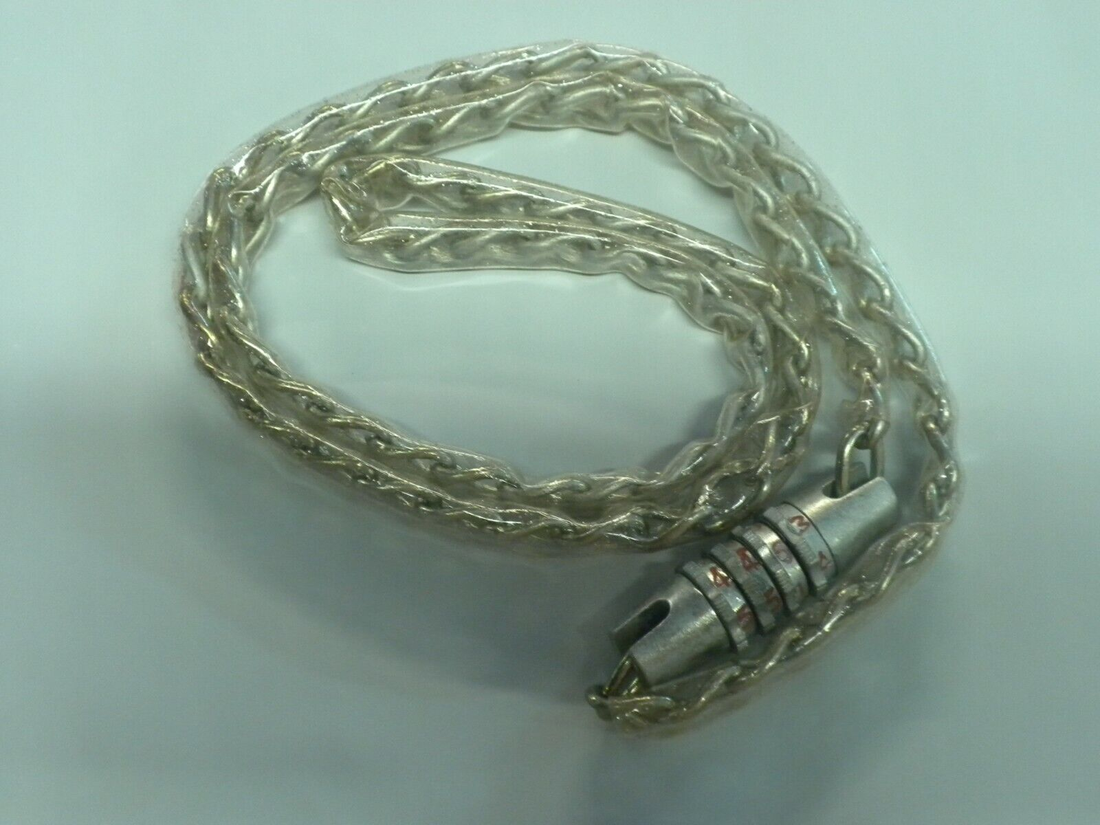 Vintage Vinyl Coated Chain with Combination Lock Silver 4 di