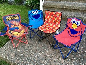 Kids folding camping chairs - Spider-Man, Elmo, Cookie Monster