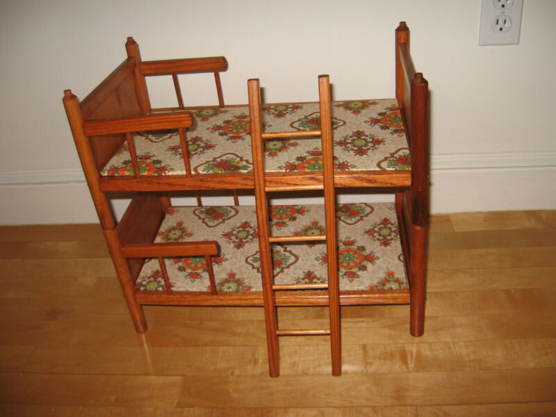 Vintage Wooden Double Decker Doll Crib
