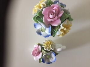 Made in England fine bone china floral ornaments.  Vintage.