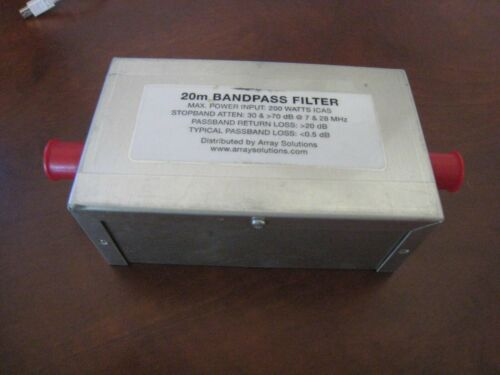 Array Solutions 20M Bandpass Filter, 200W ICAS, 30dB in 40M, 70 dB in 10M Bands