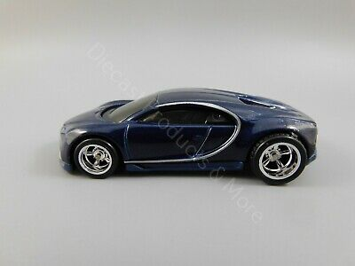 2019 Hot Wheels LOOSE CUSTOM '16 Blue Bugatti Chiron w/ Real Riders 1:64 Scale