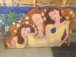 Artist Painting - Mother and Daughters - Acrylic on canvas