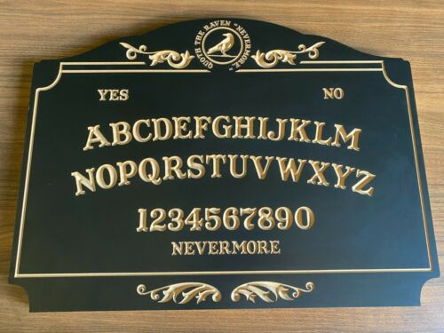 Quote the Raven Nevermore. Wooden Carved Spirit Ouija Board With Planchette.