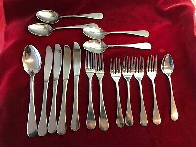 16 PIECES POTTERY BARN PBN7 REPLACEMENT FLATWARE SPOONS FORKS KNIVES USED
