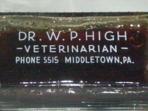 Dr. W. P. High Veterinarian white glaze screw medicine bottle, Middletown, Pa.