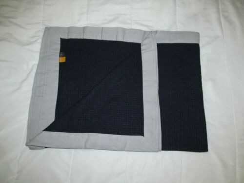 LUFTHANSA German AIRLINE cabin blanket travel throw Navy waffle grey border