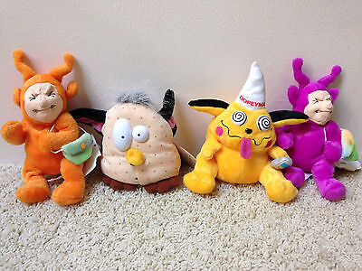 Complete Set 4 Meanies Twisted Toys 1999 DOPEYMAN NO FUR-BE & 2 TELETUSHIES NWT
