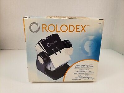 Rolodex 1734238 Black Woodtones Rotary Business Card File Office New Open Box