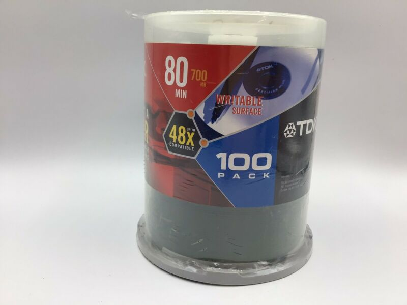 TDK CD-R Blank Recordable Disc CD, 700 MB, 80 min, 48x, 100PK - Factory Sealed!