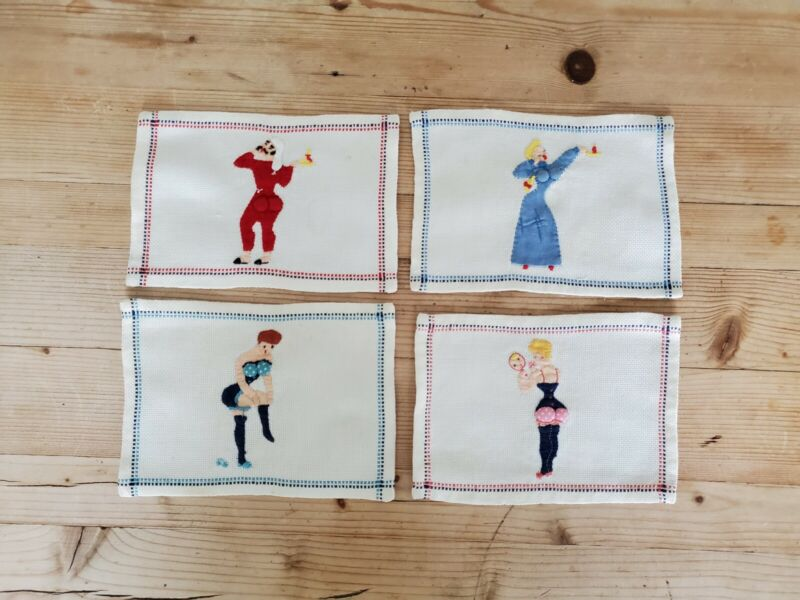 4 Padded VINTAGE Rare Sexy Risque Naughty Cocktail Napkins Coasters Embroidered;