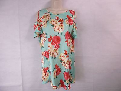 For G   Pl  Womens Xl Mint Floral Print Cut Out Shoulder   See Description  New