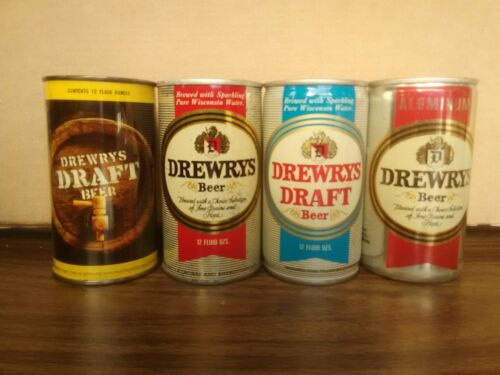 Lot of 4 Vintage Beer Cans Drewrys 12 oz