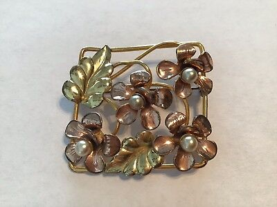 Vintage Raleigh 1/20 12kt GF Floral Faux Pearl Gold Leaf Square Brooch](Costumes Raleigh)