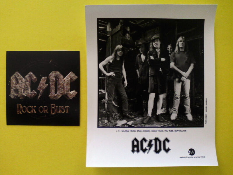 AC/DC VINTAGE PRESS 8X10 GLOSSY PHOTO ROCK OR BUST HEAVY METAL ROCK N ROLL RARE!